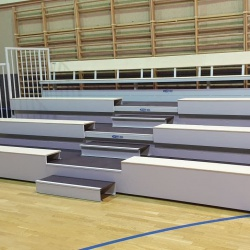 Telescopic tribunes with wooden benches TT-BETA-L